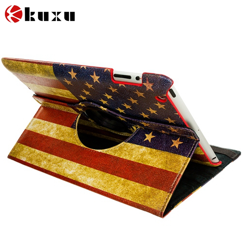 American flag 360 Rotating Case Smart Stand For New APPLE iPad 2 3 4 Tablet Case gift screen film