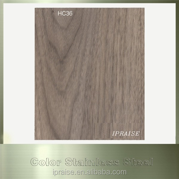 316 0.6mm Thickness Wooden Grain Stainless Steel Board for Bathroom Products