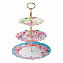 Bone china European Style Antique Flat Porcelain Ceramic Birthday Decorating Acrylic Wedding Tableware Cake Stands Cake Plate