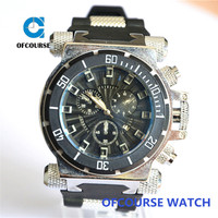 China newest men sports chronograph analog wristwatches with import battery