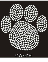 Bling pawprint motif rhinestone heat transfer iron on tshirt