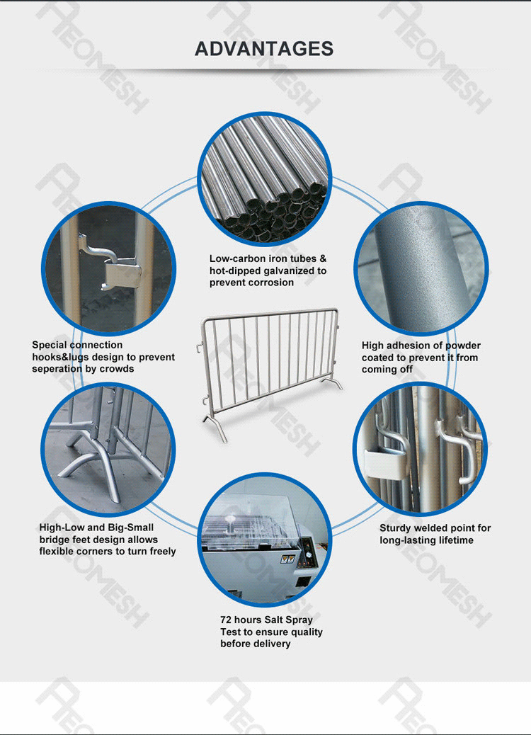 AEOMESH removable road crowd control barricades for sale / temp fence / bank queue line barrier