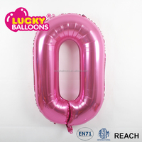 New design EN71 approved wholesale party decorations helium toy big 34'' pink custom mylar number balloons