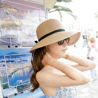 Wide Brim Sun Hats for Women Men Jazz Caps Panama Fedoras Unise Top Beach Visor Hat Straw Cap Brief Solid