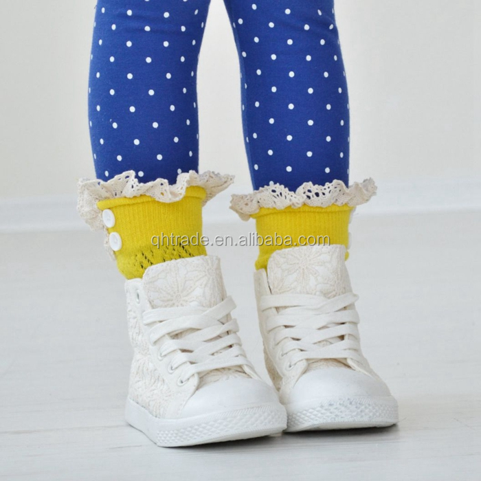 In Stock Wholesale Cute Girl's Lace Button Kids Boot Cuffs