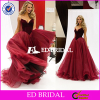 Sexy Sweetheart Velvet Bodice Long Deep Red Tulle Princess Prom Dress 2016