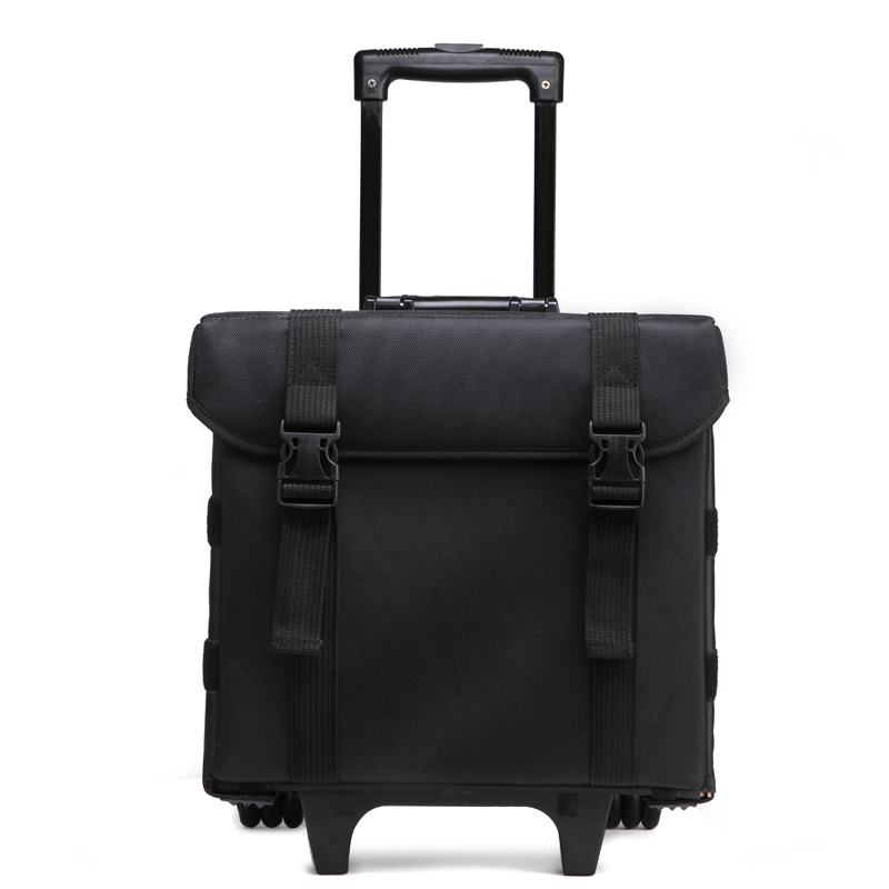 Wholesale best price professional nylon luggage trolley bag cosmetic case with multiple clear bags