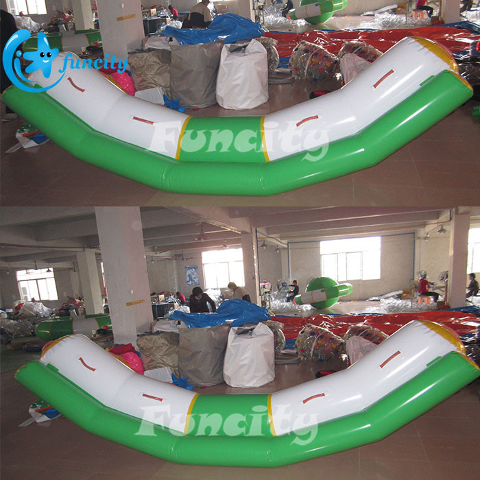 Green and Yellow Inflatable Water Totter / Banana Totter For Water Park