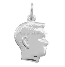 3 dimensional boy silhouette charms with embossed image zinc alloy charms for bracelet