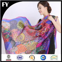 factory direct colorful pattern digital print custom design silk scarf