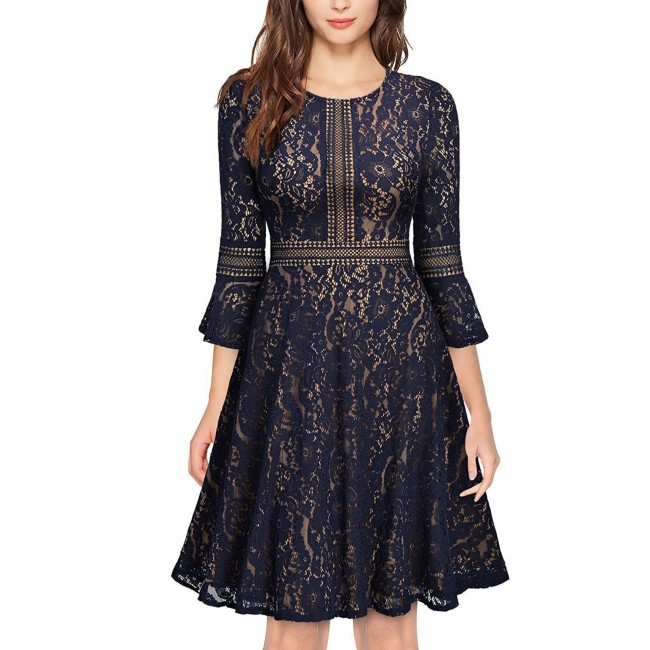 Women's Vintage Full Lace Dresses Ladies Contrast Flare Sleeve Big Swing A-Line Dress A360
