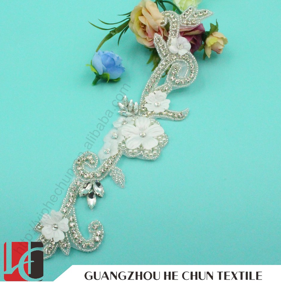HC-2108 Professonal Customized Crystal Material Rhinestone Applique,Rhinestone Applique Design For Wedding Dress,