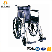 Comfortable steel chrome plate steel frame manual lightweight wheelchair for cerebral palsy