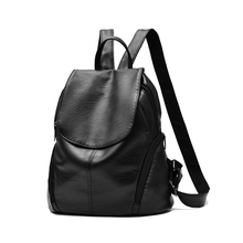 New Simple Women Bags PU Leather Black Schoolbag Backpack Mammy Backpack Fashion Bag For Women