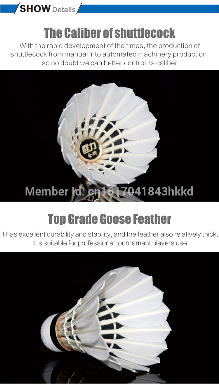 KL-gold top goose feather Tournament Grade badminton