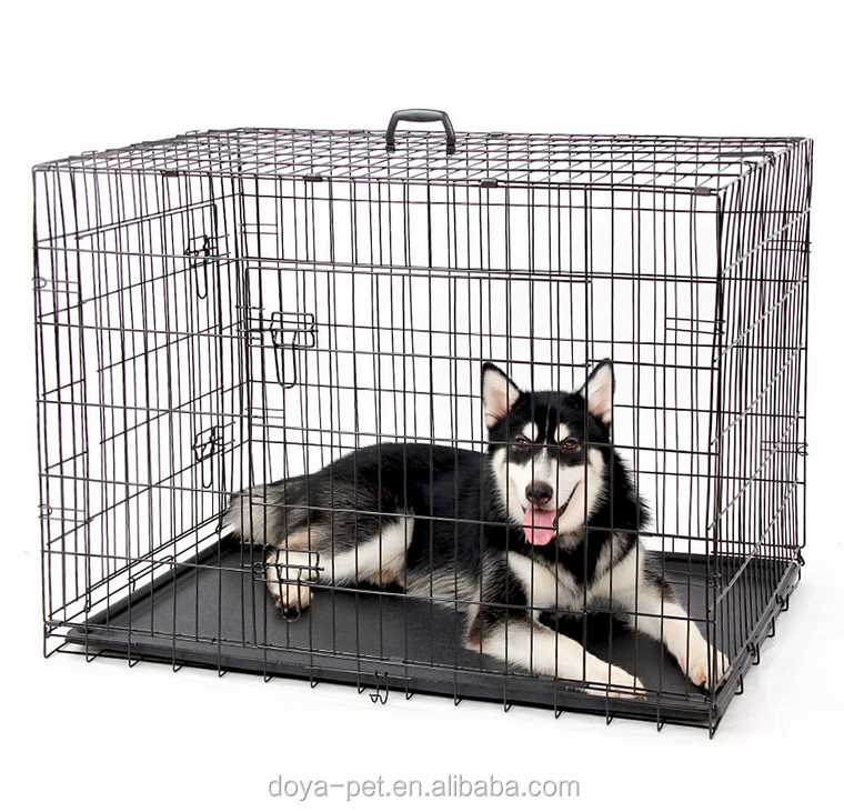 2016 popular heavy duty black dog kennels two doors large animal cage/ dog cages/ pet kennels