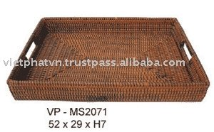Bamboo And Rattan Tray