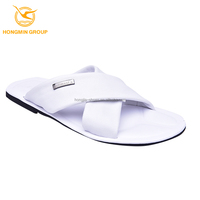 2016 fashion wholesale new arrival summer beach footwear all leather molding rubber outsole mens sandals slipper