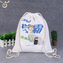 China Wholesale White Canvas Drawstring Backpack Cotton Bag