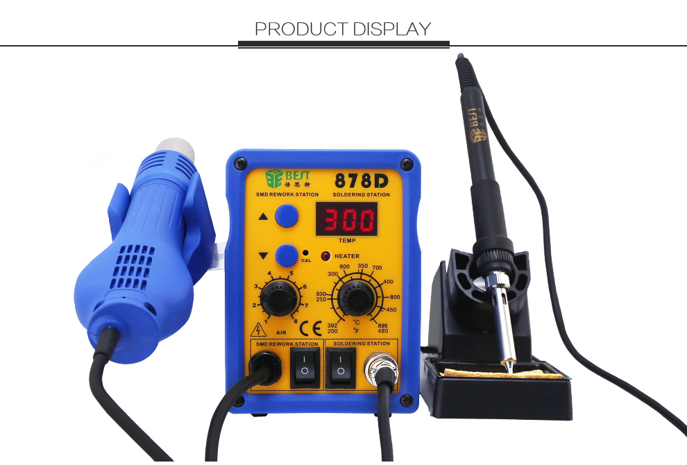 BST-878D 2 in 1 digital display lead-free 110V/220V SMD mobile phone bga hot air soldering rework station