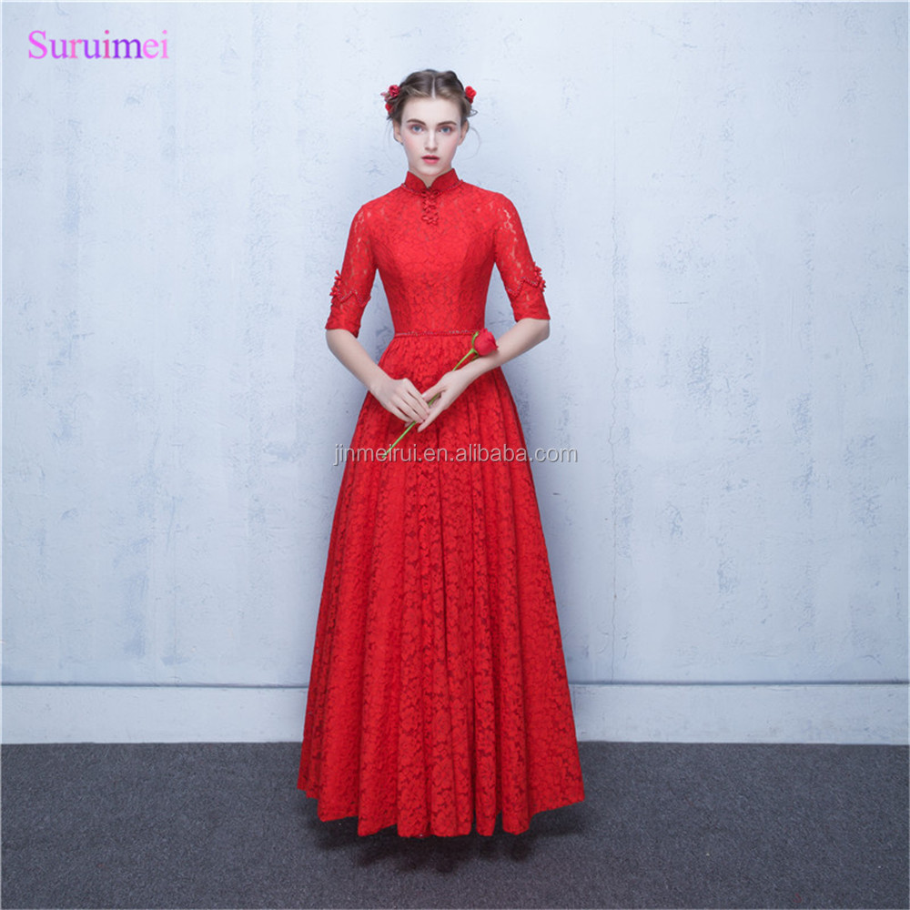 New Arrival O Neck Red Lace Evening Dresses Floor Length China Tradition Style Key Hole Open Back Corset Long Evening Dress