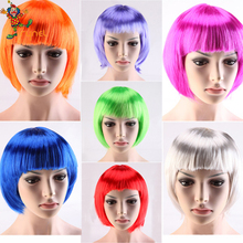 PGWG1900 Halloween Fashion Synthetic Hair Straight Short Wigs Cheap Full Bob Style Cosplay Party Wig
