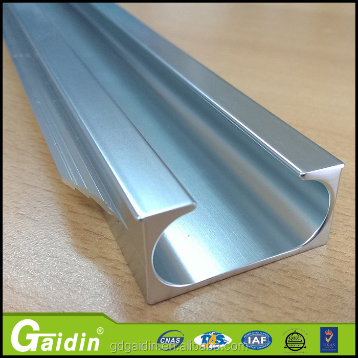 China industrial 6063-T5 extrusion aluminum anodized sliver profile for kitchen cabinet