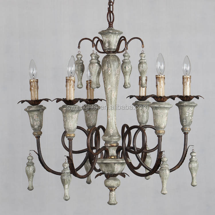 new American style antique chandelier wood lamp for home lighting C6080-6