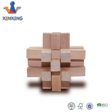 IQ Challenge Brain Teaser 3D Wooden Cube Puzzle- Set of 4, Natural