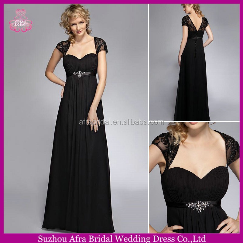 SD1431 chiffon bridesmaid dress patterns short sleeve black cheap bridesmaid gown