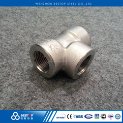 ASME B16.11 Stainless Steel 304 316 Forged Threaded Tee high pressure pipe fittings