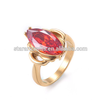 latest gold finger ring designs model with Red stone for women SRA181