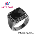 Men's Stainless Steel Ring With A Black Stone Inlay