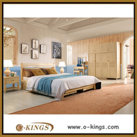 solid wood frame modern calssic bedroom beds for residence hotel