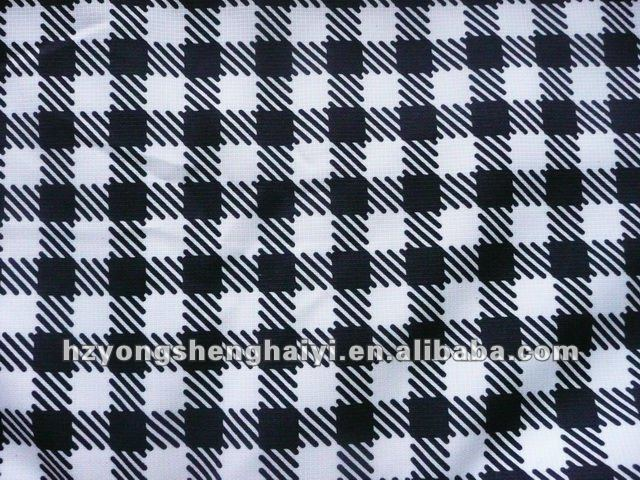 polyester grid printed fabric/fabric for furniture cover/coated with PU or PVC