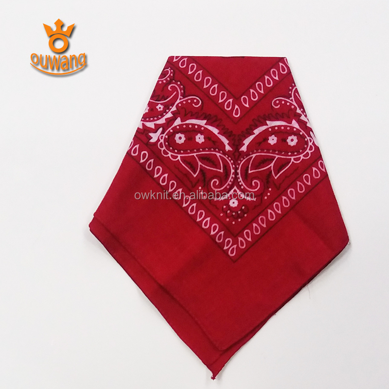 Double Sided Custom Print 100% Cotton Printed Square Carmine Bandanas Kerchief For Promotional Gift
