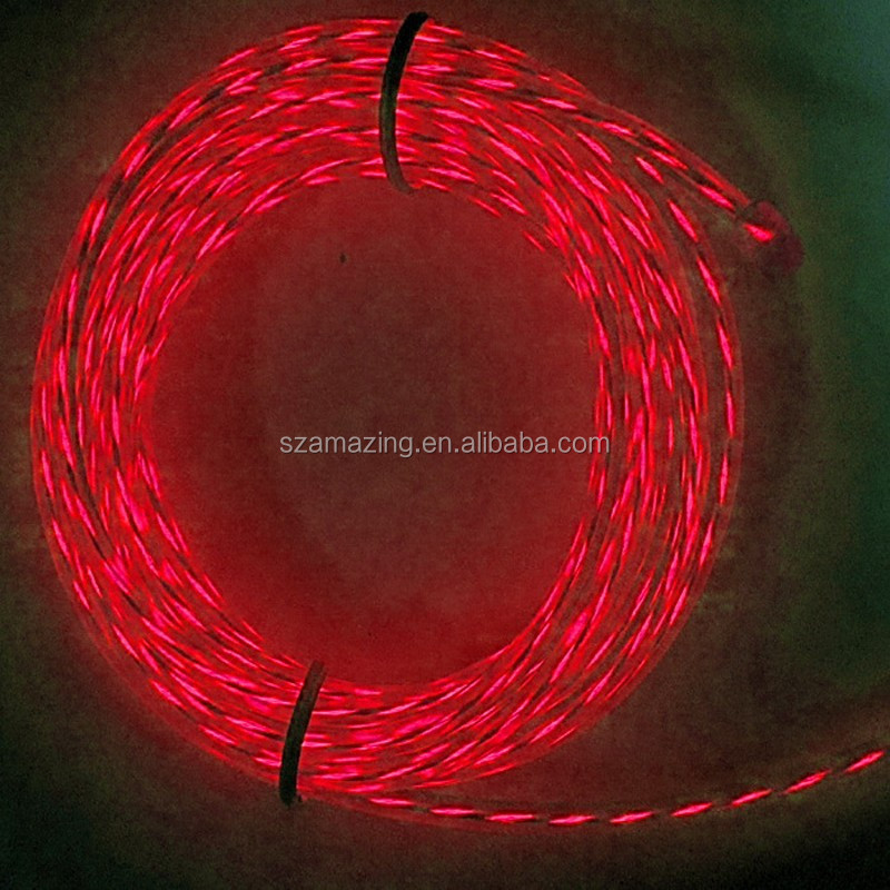 2.3mm 3.2mm el glowing wire/ led light rope el glowing cable/ EL Chasing Wire