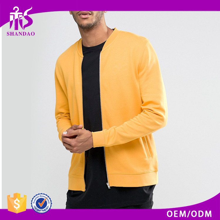 Hot Sale Fashion Design Factory Direct Sale Bright Yellow Plain Dyed Zipper Up freezer jacket