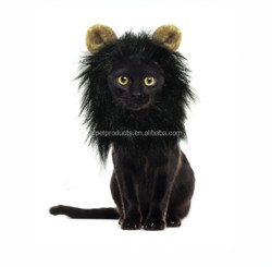Cute Black Pet Cat Dog Wig with Ears for Christmas Costumes Festival Party Clothes Fancy Dress Up