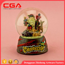 Polyresin+glass Water Globe Music snow ball Snow Globe with santa claus inside ,holiday gift