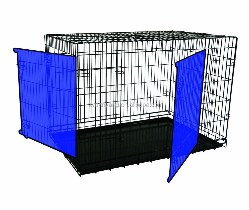 2015 black safety fold wire steel travel flat carrier pet cage dog crates