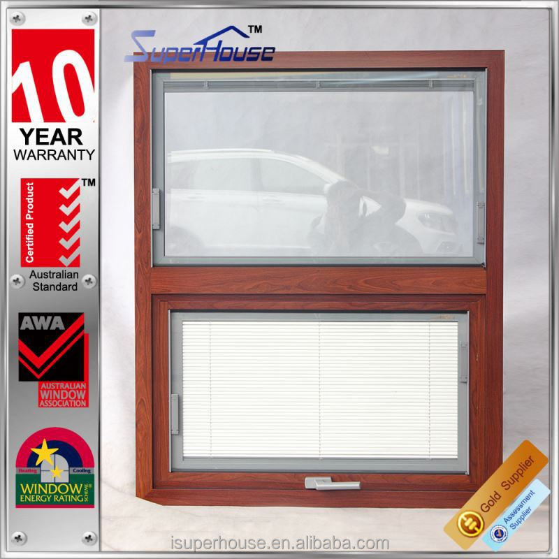 Classic wood grain factory security aluminum window without fly net