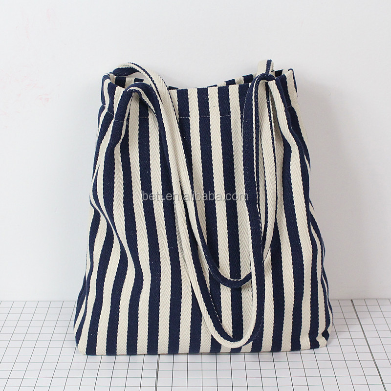 cheap striped canvas hobo bag eco-friendly cotton beach bag