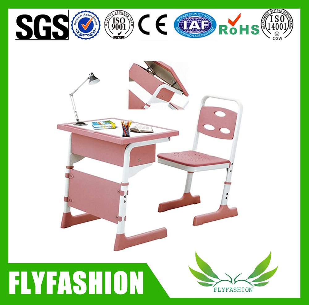 Hot sale classroom furniture pink student adjustable single shelf desk and chair for study SF-13S2
