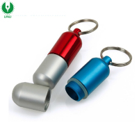 Custom Logo Promotion Waterproof Pill Tube Mini Metal Box Keychain, Capsule Holder Keyring