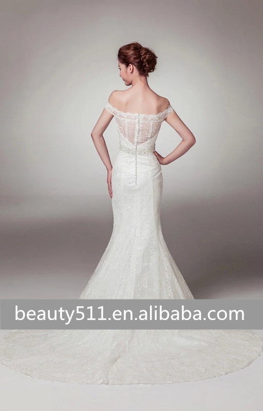 Elegant Appliques Mermaid off-shoulder Floor-length Modest Bridal Lace Wedding Dresses China WD1928