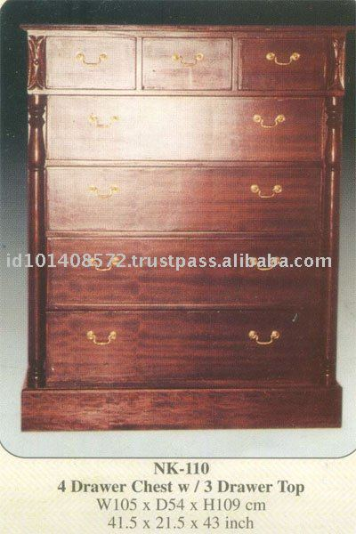 4 Drawer Chest with 3 Drawer TopMahogany Indoor Furniture