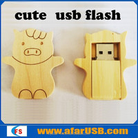 New sell pig bottle shape wooden usb flash drive