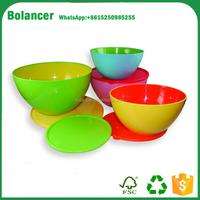 two tone 4pcs colorful round melamine plastic salad bowl set