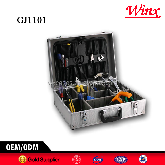 High quality tool storage box , Portable aluminum tool box With Fold-down tool pallet and Adjustable Compartments Inside
